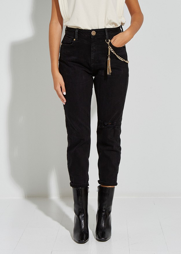 Jean trousers with chain detail