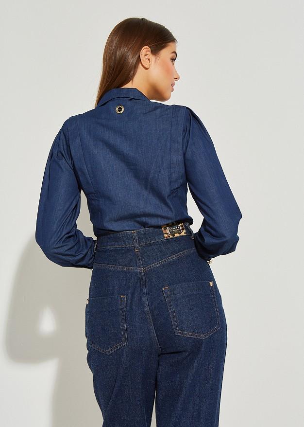 Denim shirt with shoulder pads