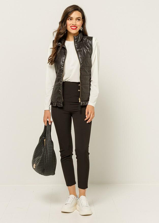 Vest with metallic fabric & belt