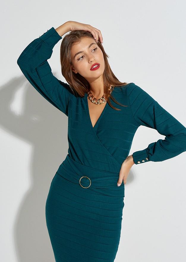 Плетена блуза тип прегърни ме