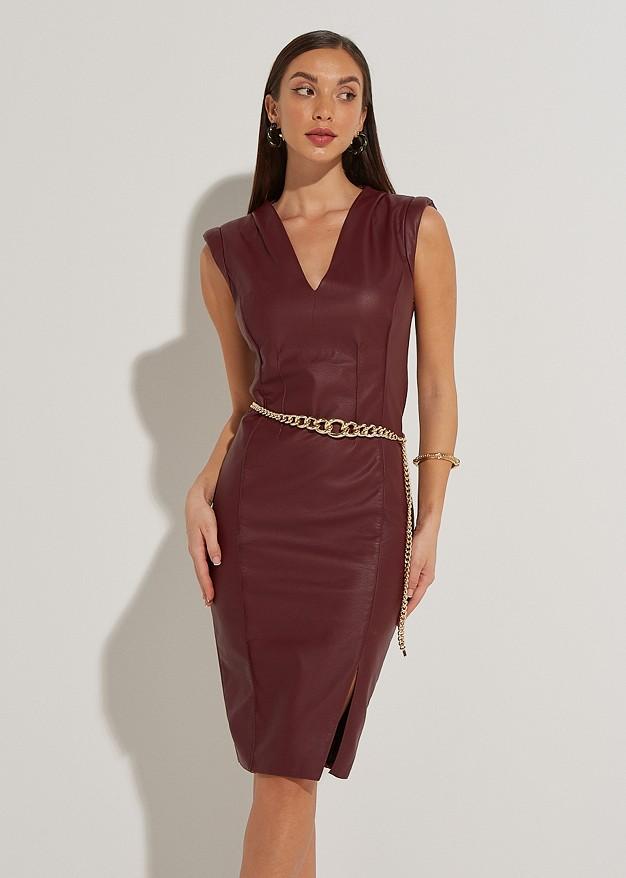 Midi leather look φόρεμα με βάτες