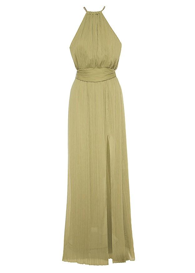 Mάξι πλισέ φόρεμα με αλυσίδα