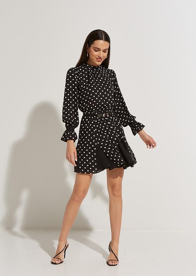 Polka dress with ruffles