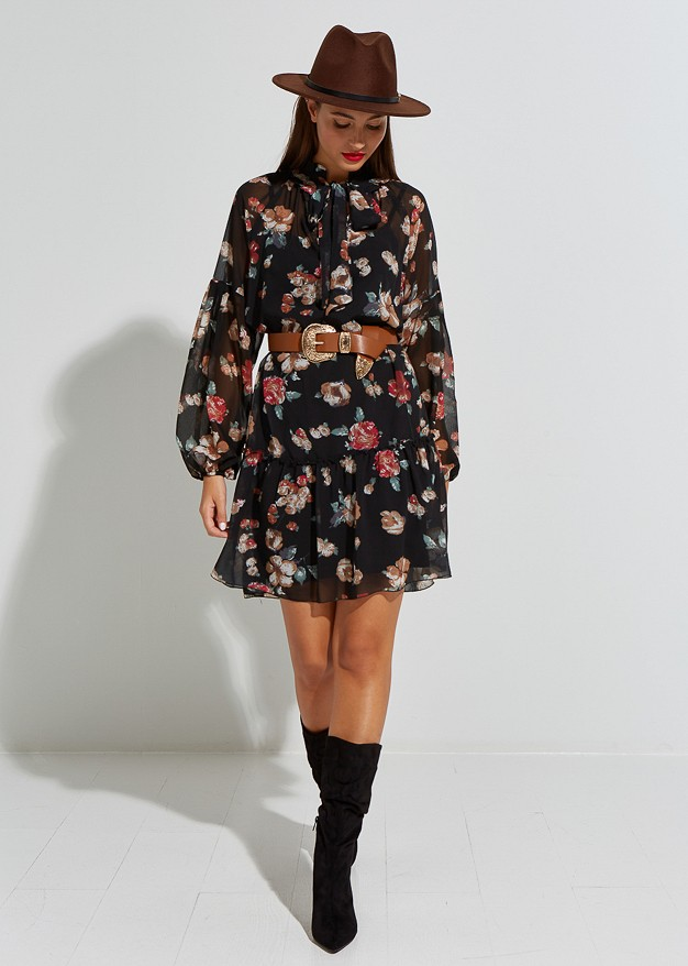 Floral dress with tie detail