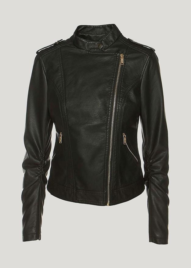 Studded leather look jacket