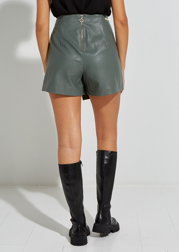 Leather look skorts with studs