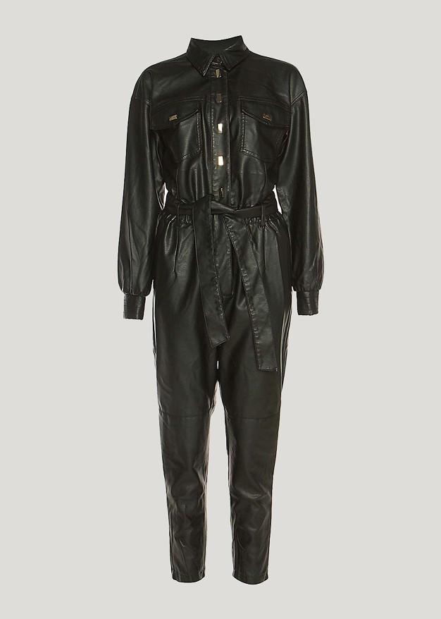 Leather look ολόσωμη φόρμα με τσέπες