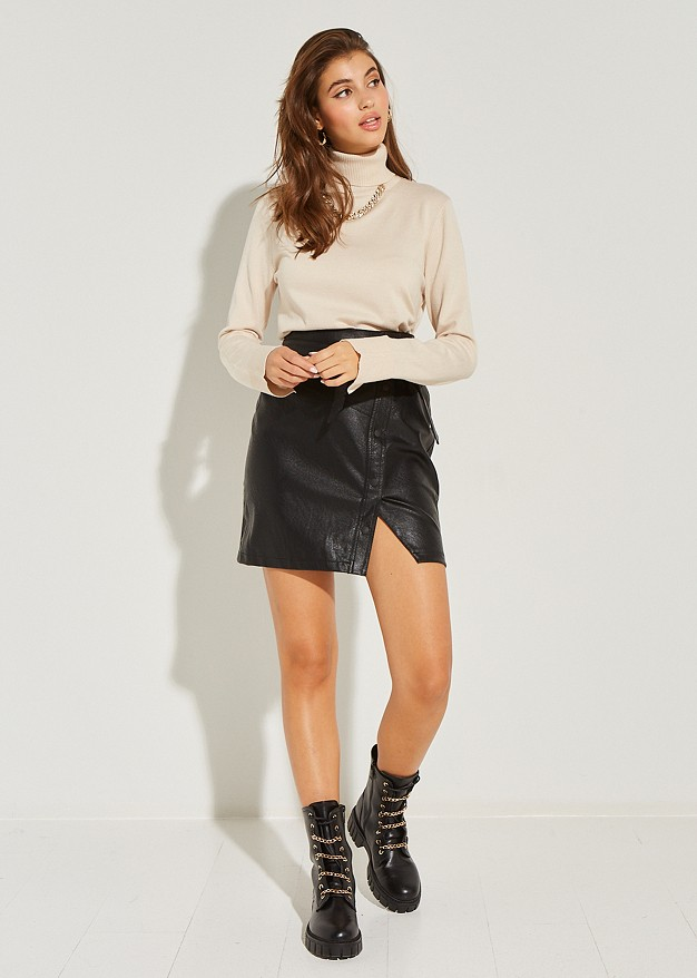 Плетена блуза с поло яка