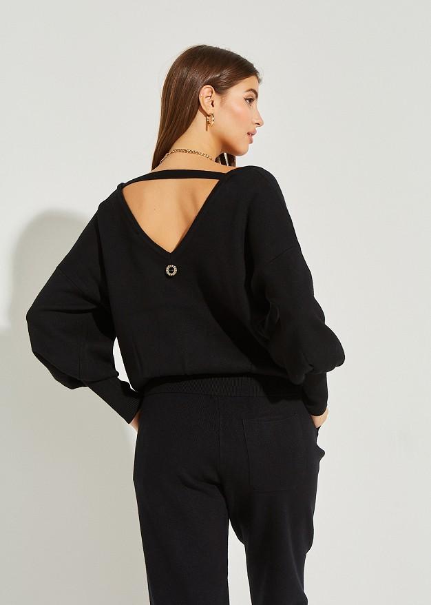 Плетена блуза с V-образно деколте