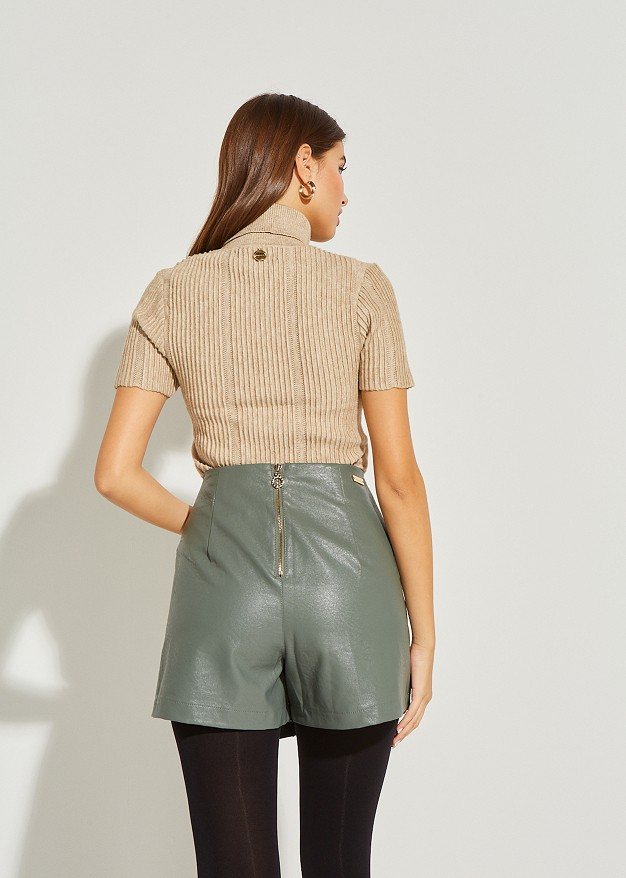 Knit blouse with turtle neck