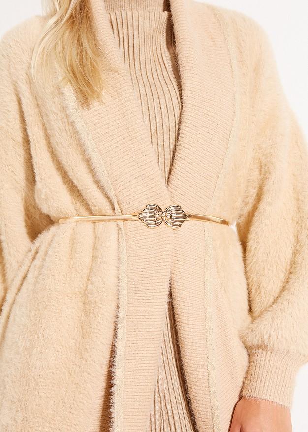 Elastic waist belt with gold buckle