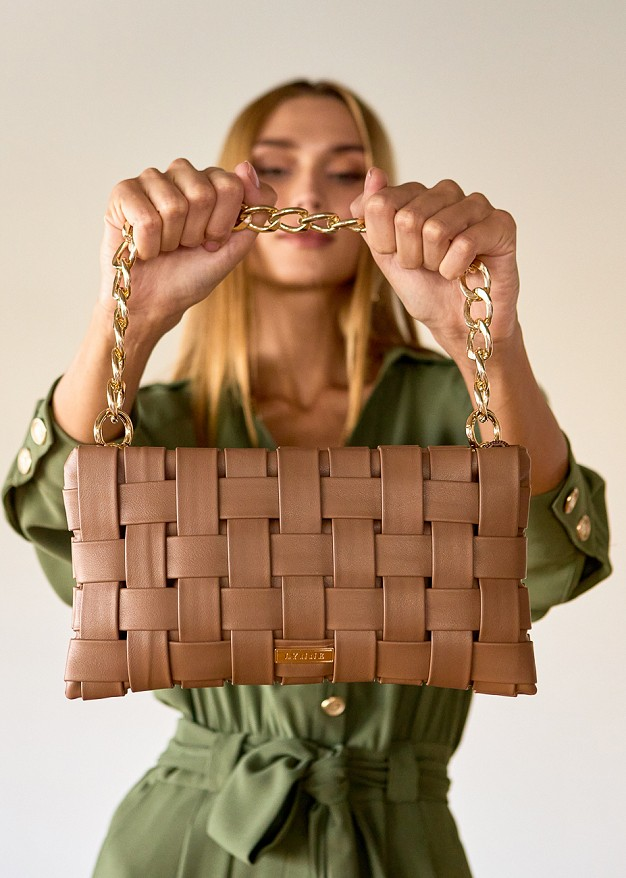 Knitted leather look bag