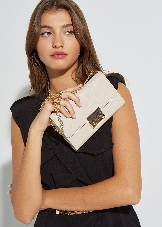 Leather look clutch