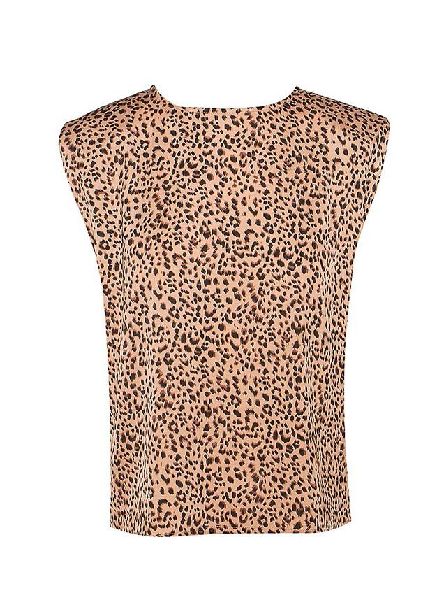 Αμάνικη animal print μπλούζα με βάτες