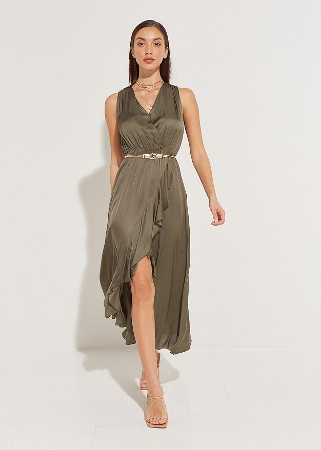 Wrap dress with ruffles