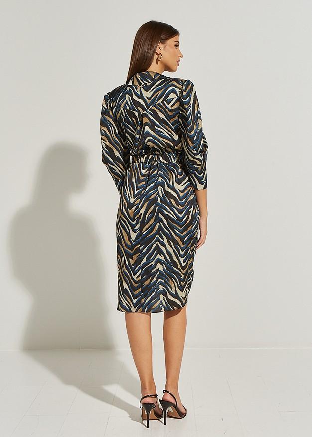 Wrap animal print collar dress