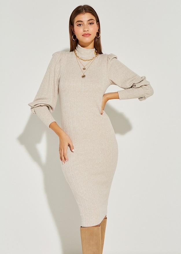Плетена рокля с поло яка