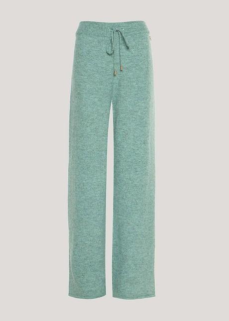 Wide leg knit trousers