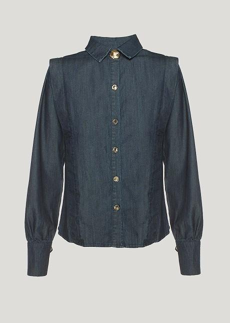 Дънкова риза с подплънки на раменете