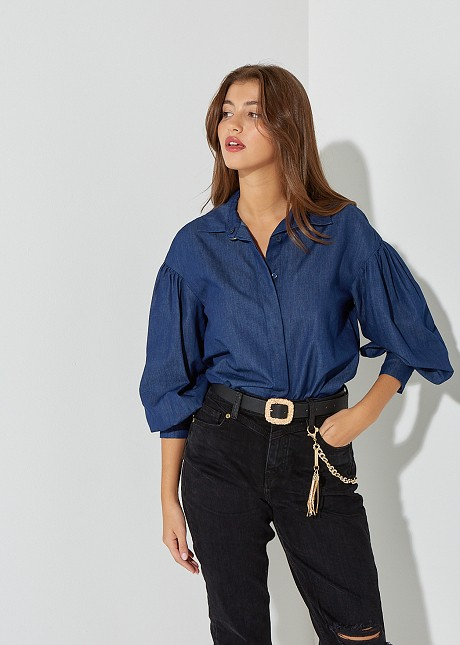 Denim shirt with puffed sleeves