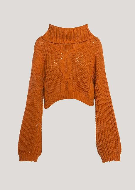 Crop turtleneck sweater
