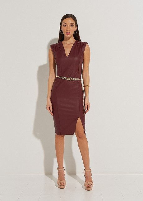 Midi leather look dress with shoulder pads