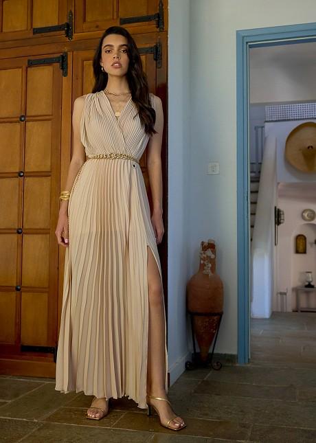 Дълга плисирана рокля