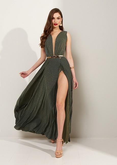 Плисирана рокля с лурекс