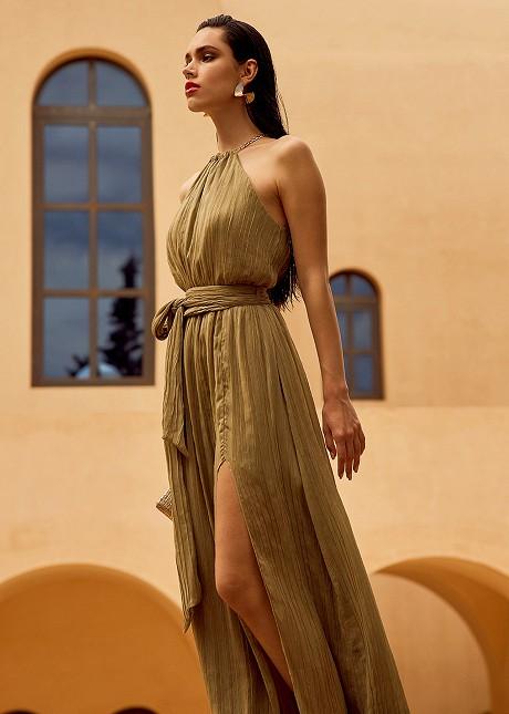 Дълга плисирана рокля с верижка