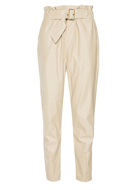 Leather look trousers with belt