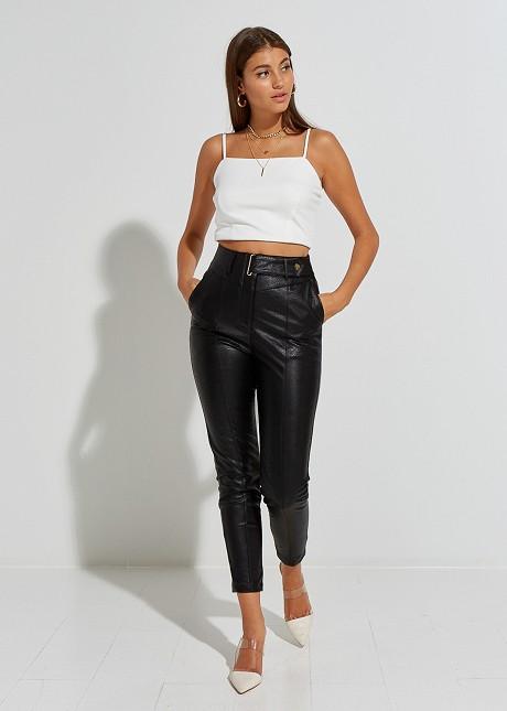 Leather look παντελόνι με λάστιχο