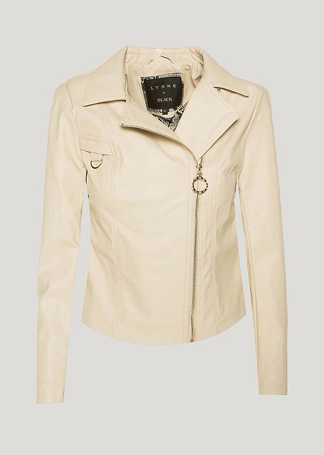 Leather look  jacket with shoulder pads