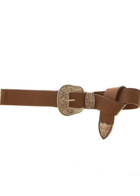 Waist belt with engraved buckle