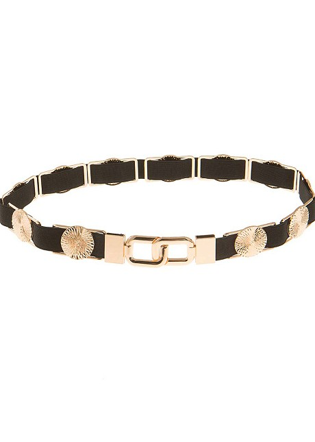 Belt with rounded metallic elements