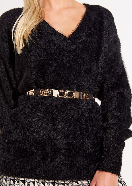 Stretch belt with gold details