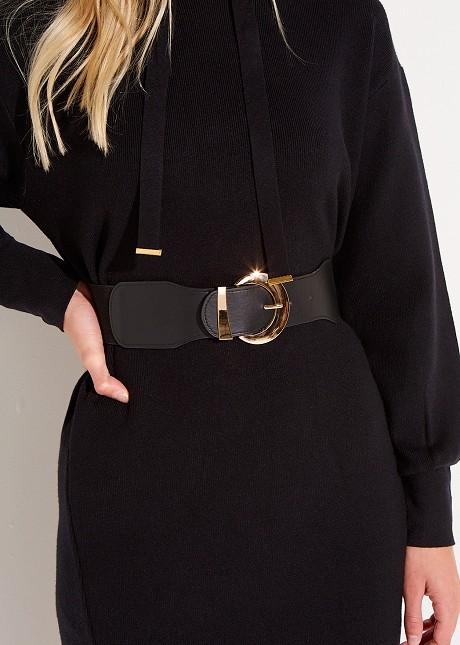 Waist belt with round buckle