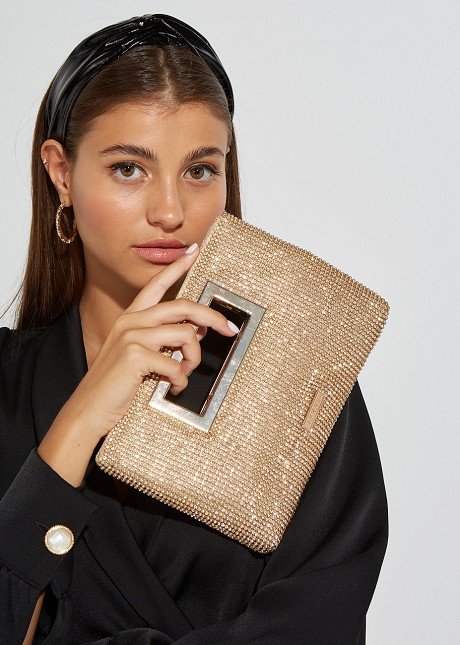 Hand bag with strass detail