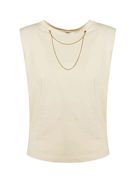 Blouse with decorative necklace