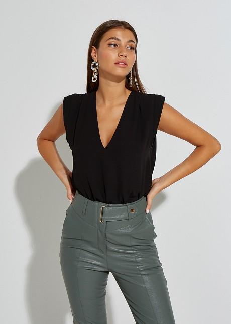 Semi-sheer blouse with shoulder details