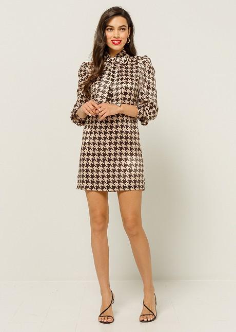Dress with pied de coq print
