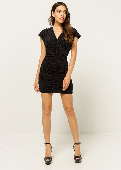 Mini dress with lurex animal print