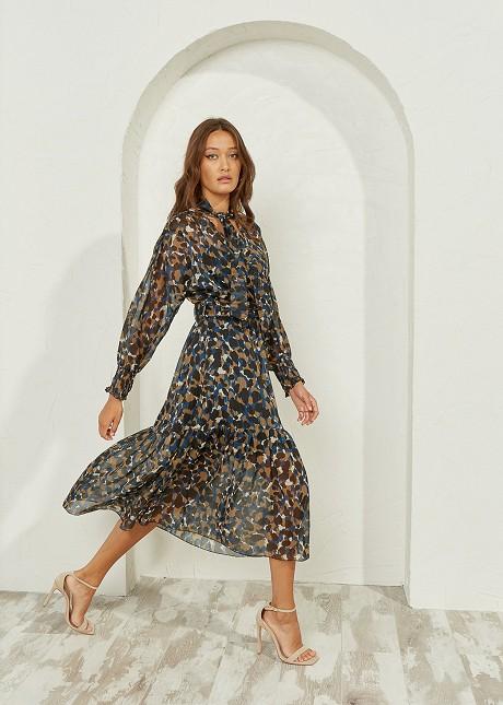Animal print φόρεμα με κόμπο