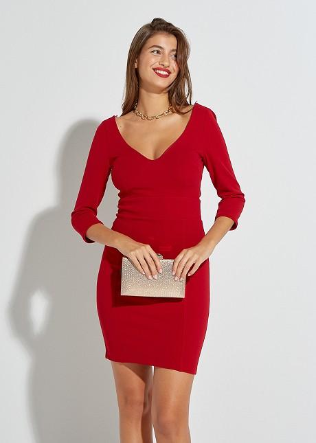 Mini dress with V-neckline