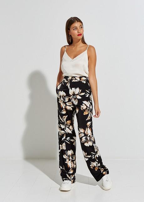 Σατέν φλοράλ παντελόνι