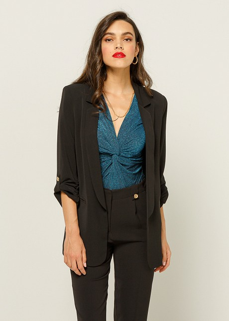 Blazer with frill on the sleeves