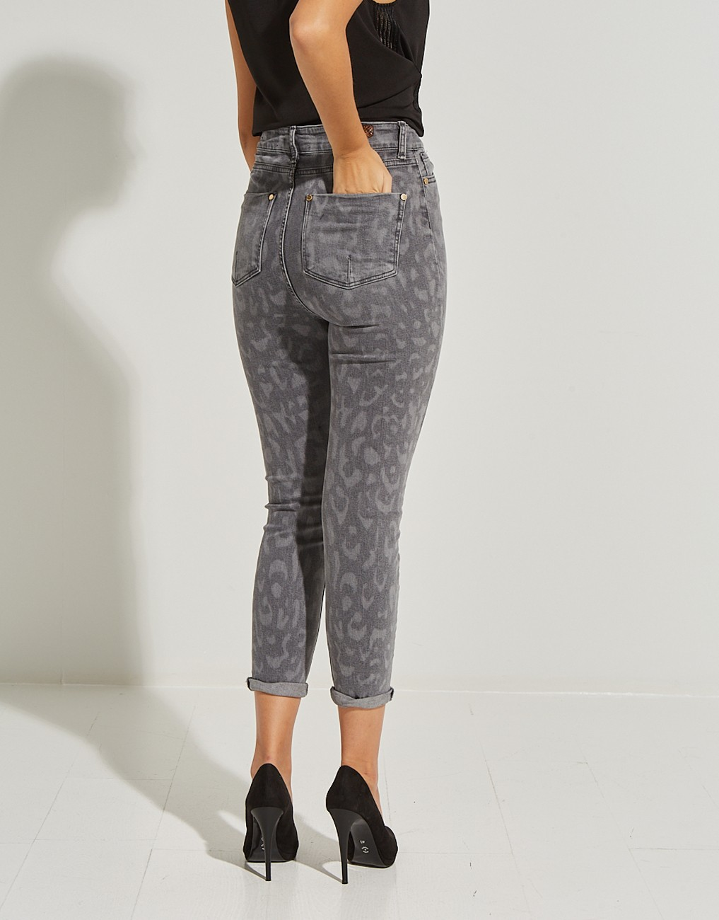 Animal print τζιν παντελόνι Amber