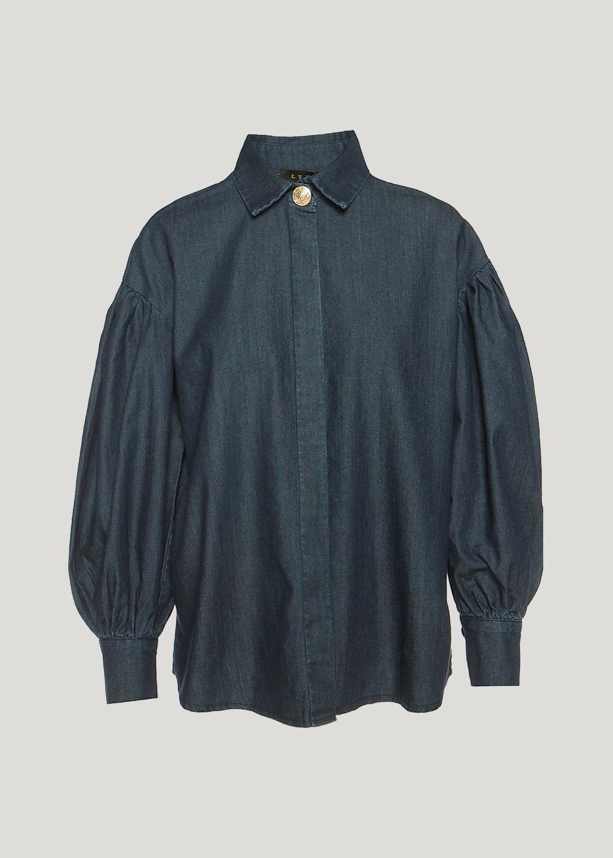 Τζιν πουκάμισο με φουσκωτά μανίκια
