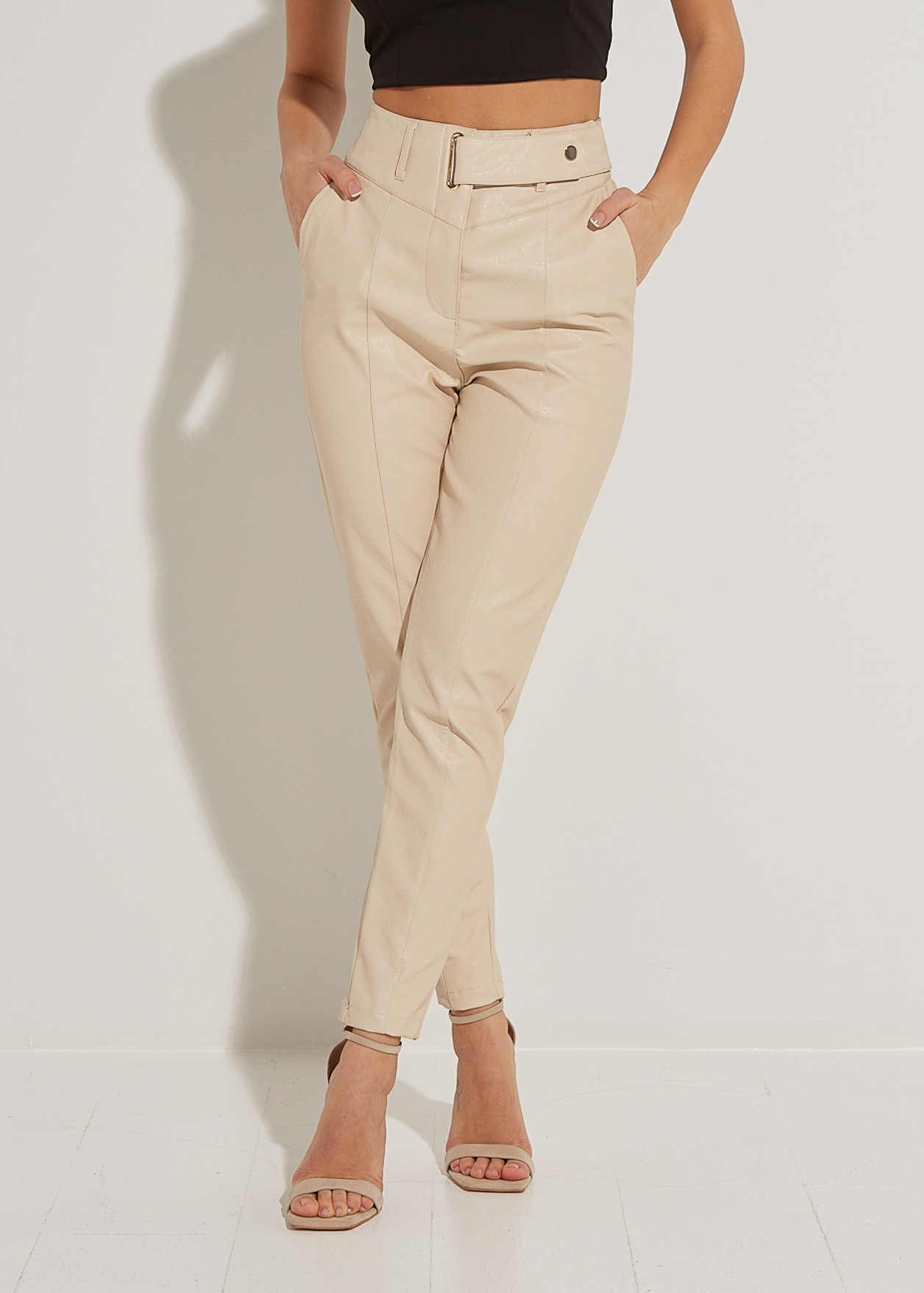 Кожен панталон с ластична талия