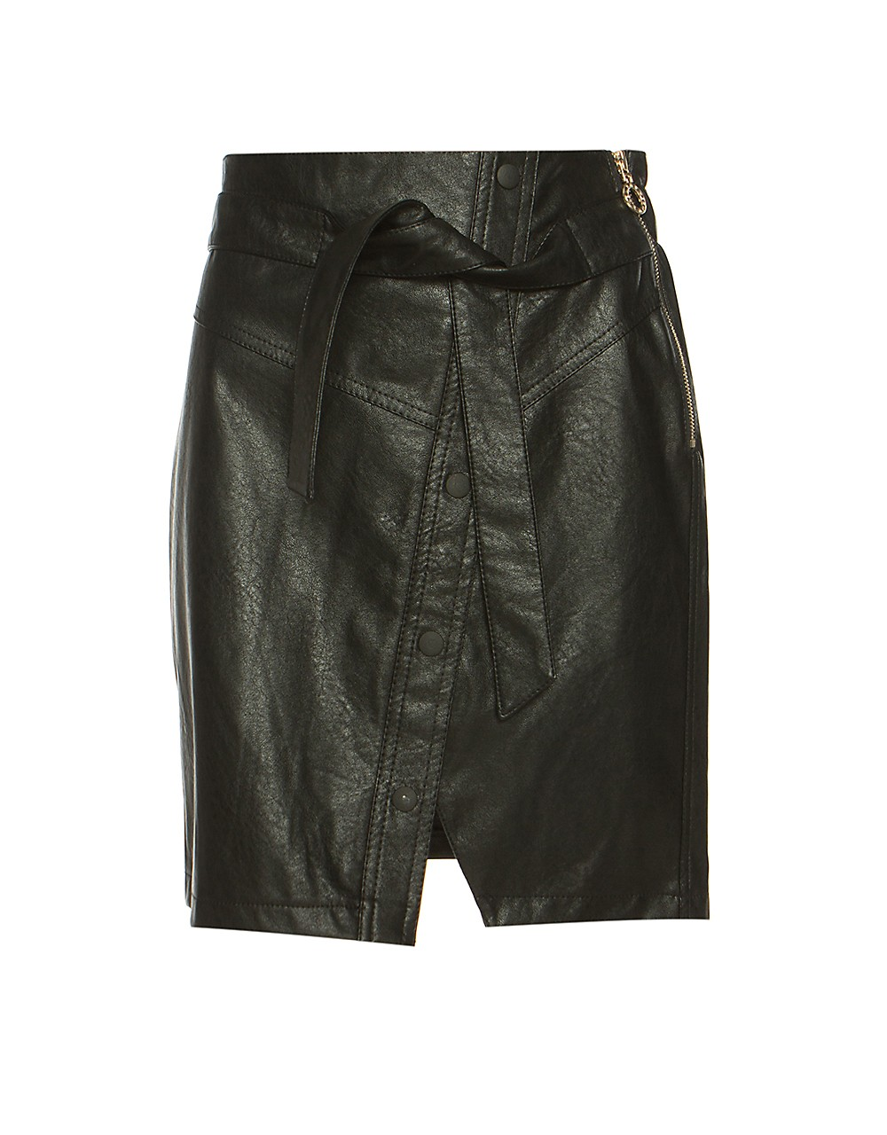 Leather look skirt with belt
