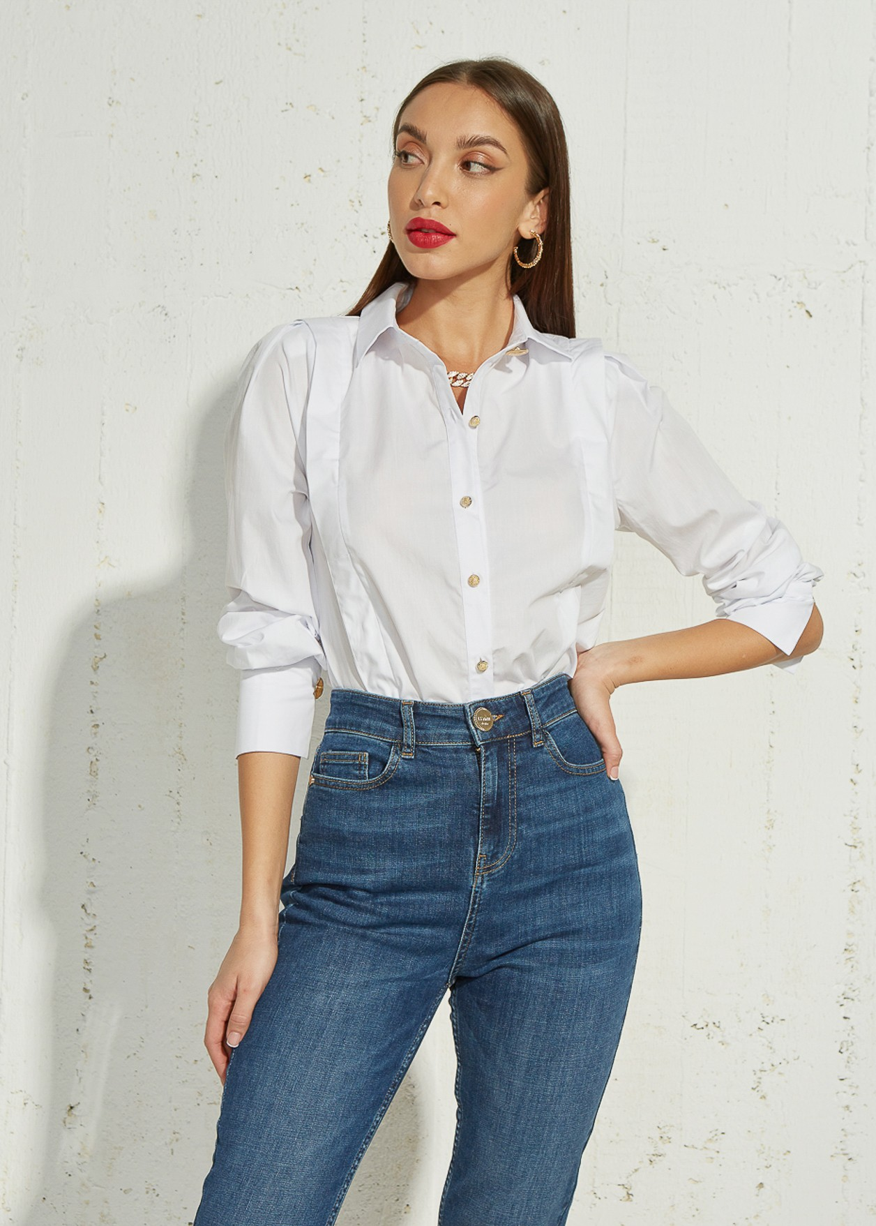 Shirt with pleat detail